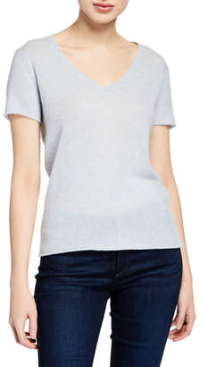ATM Anthony Thomas Melillo Cashmere V-Neck Short-Sleeve Sweater Top