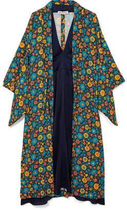 Balenciaga Layered Printed Crepe De Chine And Silk Midi Dress - Navy