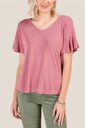 francesca's Kara Ruffle Sleeved Basic Top - Rose