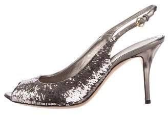 Gucci Sequin Slingback Peep-Toe Pumps