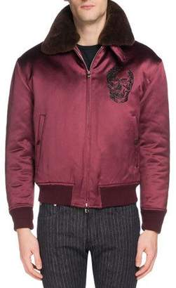 Alexander McQueen Men's Skull-Embroidered Satin Jacket with Fur Collar