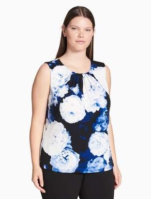 Calvin Klein plus size matte jersey oversized floral pleat neck top