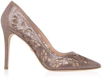 Elie Saab Metallic Leather Cutout Pumps