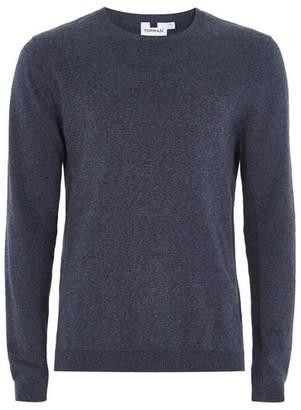 Topman Mens Blue Petrol Twist Side Ribbed Sweater
