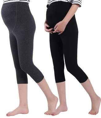 Foucome Women's Over The Belly Super Soft Support Maternity Capri Leggings Light Gray