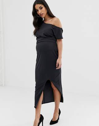 Asos DESIGN Maternity midi dress with drape
