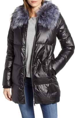 Sam Edelman Cire Faux Fur Trim Down Quilted Coat