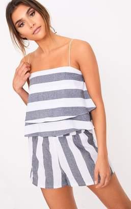 PrettyLittleThing Grey Bold Stripe Beach Crop Top