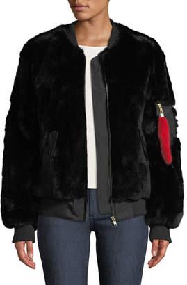 Adrienne Landau Rex Rabbit Fur Varsity Jacket