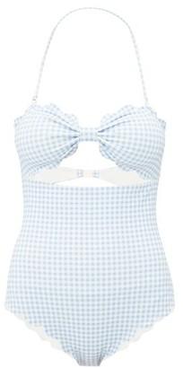 Marysia Swim Antibes Scalloped Edge Swimsuit - Womens - Light Blue
