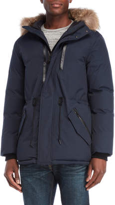 Mackage Navy Real Fur Trim Down Hooded Jacket