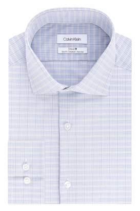 Calvin Klein Men's Dress Shirts Non Iron Slim Fit Stretch Check