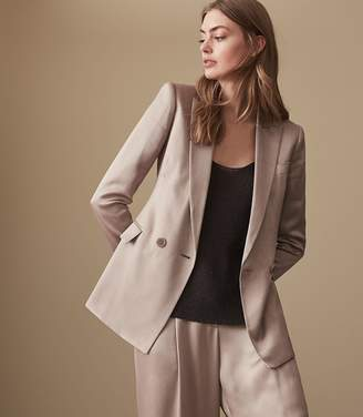 Reiss ARIA JACKET SHIMMER DOUBLE BREASTED BLAZER Silver