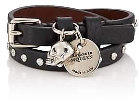 Alexander McQueen Men's Studded Leather Double-Wrap Bracelet - Black
