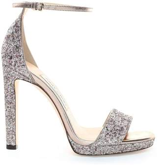 Jimmy Choo MISTY 120 Platinum Mix Painted Coarse Glitter Fabric Platform Sandals