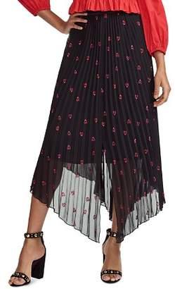 Maje Jengo Embroidered Heart Midi Skirt