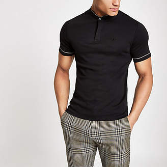 River Island Mens Black check piped wasp embroidered polo shirt