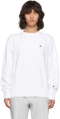 Champion Reverse Weave White Small Logo Sweatshirt