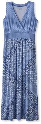 L.L. Bean L.L.Bean Summer Knit Maxi Dress, Sleeveless Tile Print