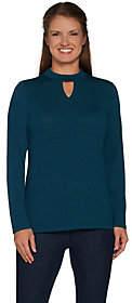 Denim & Co. Heavenly Jersey Keyhole Neck LongSleeve Top