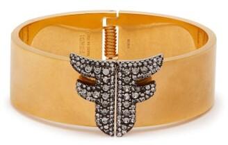 Fendi Ffreedom Crystal Embellished Cuff - Womens - Gold