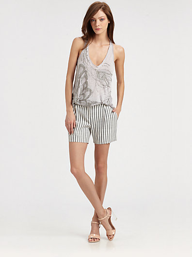 Milly Contrast-Stripe Shorts