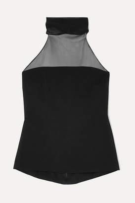 Cushnie Silk Chiffon-trimmed Stretch-crepe Halterneck Top - Black