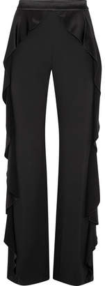 Alice + Olivia Wallace Satin Ruffled-trimmed Crepe Wide-leg Pants - Black