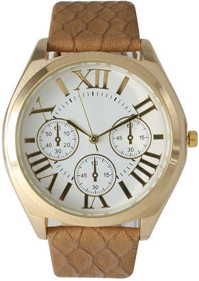 BEIGE OLIVIA PRATT Olivia Pratt Womens Decorative Chronograph Dial Croc-Embossed Leather Watch 26328