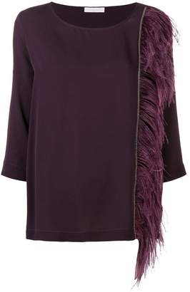 Fabiana Filippi feather-trimmed blouse