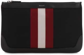 Bally Logo Stripe Tech Canvas Pouch