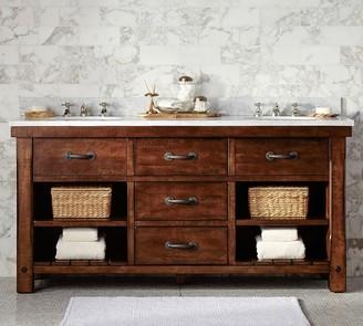 Pottery Barn Benchwright Double Sink Vanity - Rustic Mahogany Finish