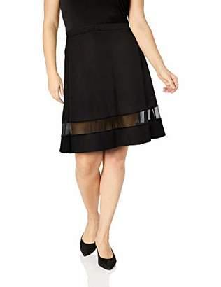 N. Star Vixen Women's Plus-Size Fit Flare Stretch Ponte Knit Mesh Inset Skirt