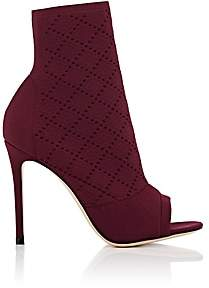 Gianvito Rossi Women's Perforated Knit Ankle Boots - Prune