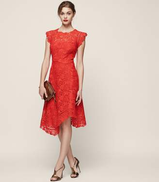 Reiss ORDER BY MIDNIGHT DEC 15TH FOR CHRISTMAS DELIVERY LUCY LACE MIDI DRESS Vivid Red