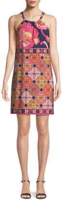 Trina Turk Vacaciones Terrace Tiles Halter Mini Dress