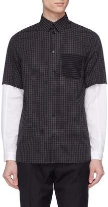 GOETZE 'Gerald' layered sleeve grid print shirt
