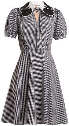 No.21 NO. 21 Embellished-collar gingham cotton dress
