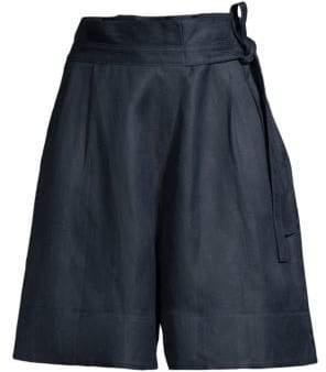 Donna Karan Tie-Waist Linen-Blend Shorts