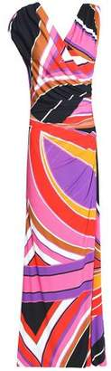 Emilio Pucci Wrap-Effect Printed Stretch-Jersey Gown