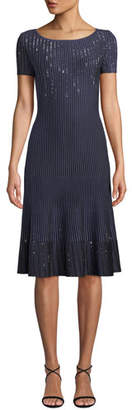 St. John Bateau-Neck Short-Sleeve Luxe Ottoman Knit Fit-and-Flare Dress w/ Sequins