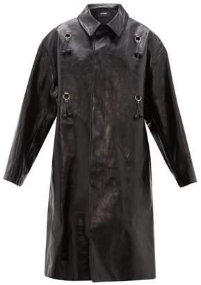 Raf Simons Oversized Cherry Leather Coat - Womens - Black