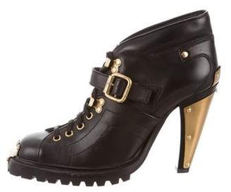 Miu Miu Leather Lace-Up Ankle Boots