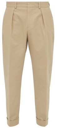 MAISON KITSUNÉ Joe Straight Leg Cotton Blend Twill Trousers - Mens - Beige