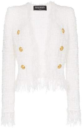 Balmain tweed shredded hem gold-tone button jacket