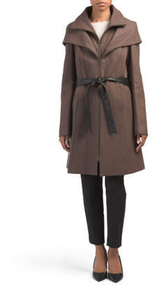 Hooded Wool Blend Coat With Belt