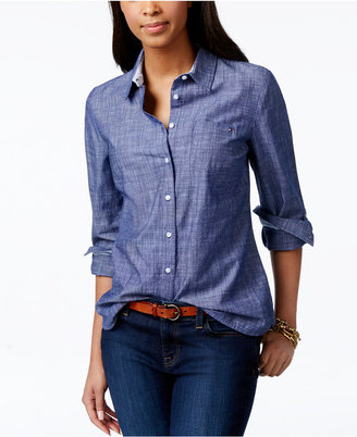 Tommy Hilfiger Roll-Tab Chambray Shirt, Only at Macy's $49.50 thestylecure.com