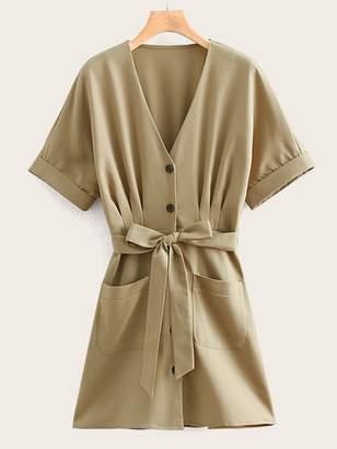 Shein Self Tie Button Front Solid Tea Dress