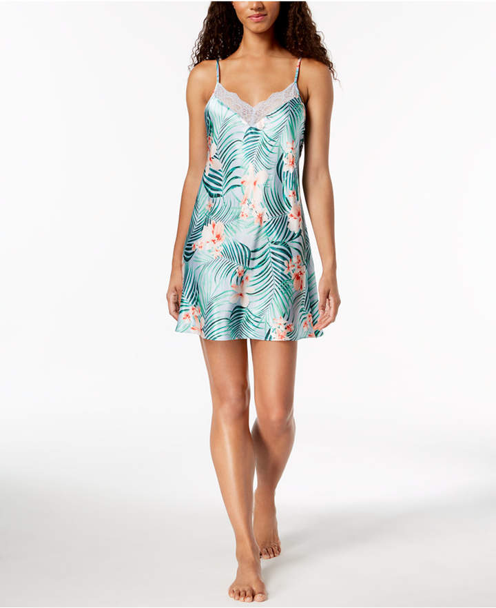 Tropical-Print Sheer Lace Chemise, Created for Macy's