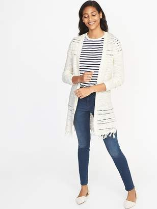 Old Navy Open-Front Fringed-Hem Pointelle Sweater for Women